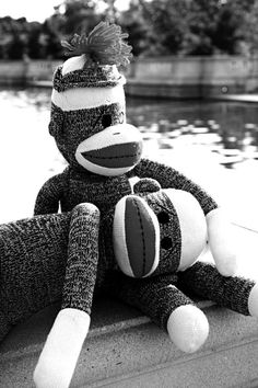 Sock Monkey Best Friends - Lean on Me - Black and White 8x10 Photograph - Whimsy, Fun, Retro
