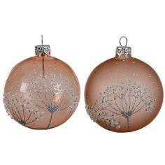 Lot de 6 boules de Noël (D80 mm) Fleur givrée Vieux rose : choisissez parmi tous nos produits Boule de Noël