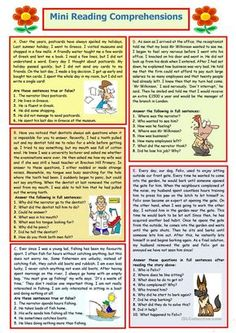 Mini Reading Comprehensions 8 worksheet - Free ESL printable worksheets made by teachers English Teaching Materials, Teaching English Grammar, English Grammar Worksheets, English Writing Skills, English Reading, English Lessons, Reading Comprehension Activities, Reading Worksheets, Reading Passages