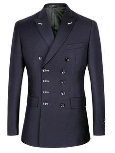 Men Suit Slim Fit New Fashion Double Breasted Peak Lapel Formal Costum – kidenhome Blue Suit Men, Mens Suit Vest, Mens Suits, Blue Suits, Indian Men Fashion, Mens Fashion Wear, Suit Fashion, Blazer Outfits Men, Fancy Suit
