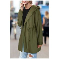 Basic Simple Plain Drawstring Waist Long Sleeve Hooded Casual Trench... ($37) ❤ liked on Polyvore featuring outerwear, coats, cotton coat, trench coat, green trench coats, long sleeve coat and hooded trench coats