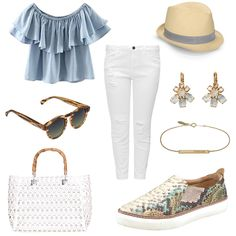 OneOutfitPerDay 2016-07-22 - #ootd #outfit #fashion #oneoutfitperday #fashionblogger #fashionbloggerde #frauenoutfit #herbstoutfit - Frauen Outfit Outfit des Tages Sommer Outfit Bluse Hallhuber Jeans Jeans Slim Fit Komono Liebeskind Berlin Ohrringe Orelia RIO-Schmuck Slim Fit Slim Fit Jeans Slipper Sonnenbrille T-Shirt Tailloday Tasche Top Triangle by s.Oliver