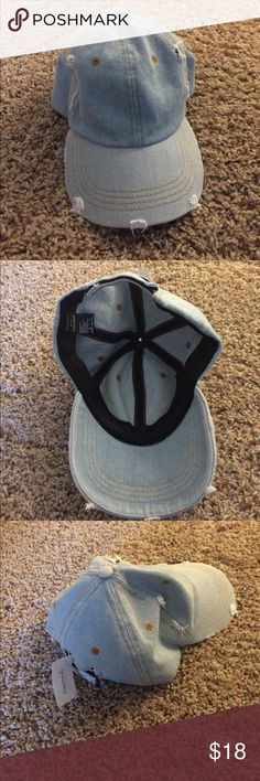 Francesca's denim distressed hat New with tags denim baseball hat with distressing detail.   💋pet and smoke free home  💋open to reasonable offers   🌿Please no trades. Let me know if you have any questions! 🌿 Francesca's Collections Accessories Hats