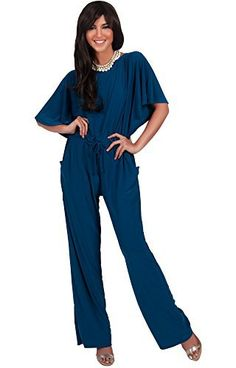 KOH KOH Womens Short Sleeve Boat Neck Flutter Evening Formal Cocktail Jumpsuit A highly versatile jumpsuit design that features short sleeve and a comfortable boat neck! This jumpsuit is a suitable look for all as you can dress it up for a casual chic look or even a formal event, however you like! With our wide range of sizes, this simple yet elegant long jumpsuit is the perfect option to wear as a plus size pant suits, maternity jumpsuits as well as pregnancy overall for al