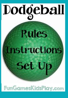 How to play the game of Dodgeball.  Rules, set up and instructions.  Find more fun games for kids at Fungameskidsplay.com