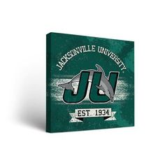 """Victory Tailgate NCAA Banner Version Framed Graphic Art on Wrapped Canvas NCAA Team: Jacksonville University Dolphins, Size: 24"""" H x 24"""" W x 1.5"""" D"""