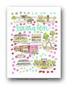 Lexington Map Print  // Evelyn Henson // Collect your favorite cities at www.evelynhenson.com