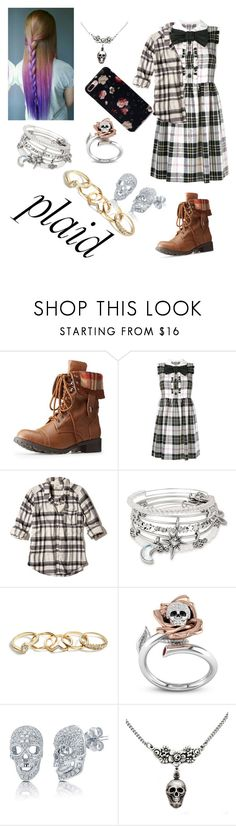 """""""plaid look 1"""" by kayskygre ❤ liked on Polyvore featuring Charlotte Russe, Miu Miu, Hollister Co., Alex and Ani, GUESS and BERRICLE"""