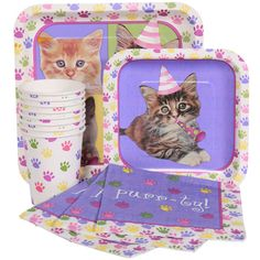 Cat/Kitten Party Birthday Party Supplies-Napkins Plates Cups