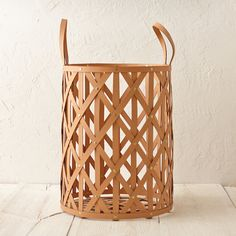 Woven Leather Cylinder Basket