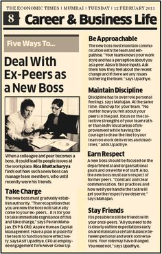 How to manage Ex-Peers. Our views in the Economic Times :)