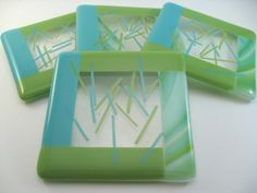 Fused glass Coasters Green and Turquoise by GlassArtByMargot