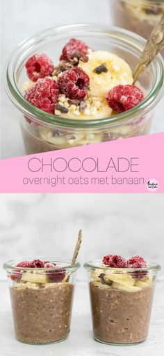 Chocolate overnight oats with banana - chocolate overnight oats, easy and nutritious vegan breakfast. Low Calorie Overnight Oats, Dairy Free Overnight Oats, Chocolate Overnight Oats, Banana Overnight Oats, Chocolate Oatmeal, Banana Oats, Raw Food Recipes, Gourmet Recipes, Healthy Recipes