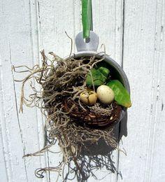 Bird Nest Vintage Measuring Cup Wall Decor Bird by TheBackShak, $12.00