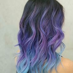 Purple and blue ombre  #hairideas #hairgoals #rainbowhair #bluehair #pinkombrehair #blueombrehair