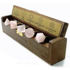 "Platonic Solids (Sacred Geometry) Set of 5 3/4"" Crystal with wood box - pocket size Sacred Geometry (Platonic Solids) singles in sets of 5 in a wood box, Dodeca"