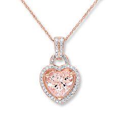 Morganite Necklace 1/6 ct tw Diamonds 10K Rose Gold