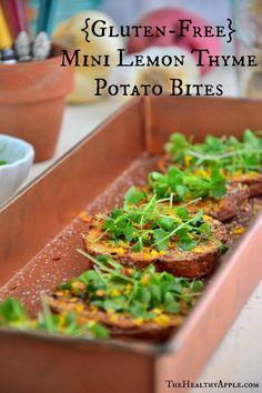 Mini Lemon Thyme Potato Bites {Gluten-Free, Vegan} - Gluten Free Recipes - The Healthy Apple