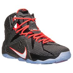 Men's Nike LeBron 12 Basketball Shoes | Finish Line | Black/White/Bright Crimson