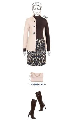 Office outfit: Brown - Blush - Floral by downtownblues on Polyvore #officewear  #turtleneck  #cableknit #peacoat #floralskirt  #shoulderbag #DorothyPerkins #Hallhuber #ToryBurch