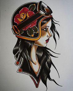 #motorcyclegirl #tattoofrankfurt #traditionaltattoo #oldschooltattoo #gipsygirltattoo #tattooflash