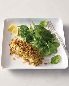 Crisp Baked Lemon Cod Recipe | Martha Stewart Living - The crunchy coating on these cod fillets is made with a most unexpected ingredient -- crushed toasted-rice cereal.