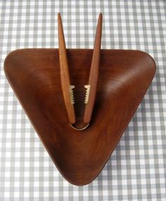 Teak triangular nut bowl with matching nut crakers in teak & brass. c1960s Fragile Design at MM Show Dulwich 2nd Dec 2013