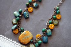 Beaded Chain Necklace  Fall Necklace  Turquoise by BeadSoupJewelry, $48.00
