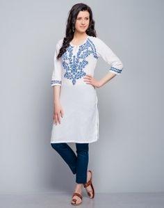 Cotton Colored Chikankari Raglan Sleeves Mini Kurta