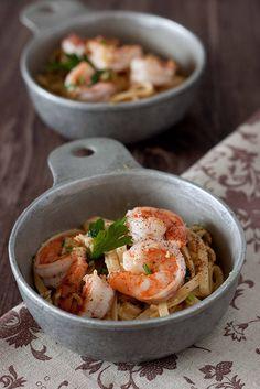 Spaghetti w/ Creamy Garlic Prawns + Chook Raffle Chardonnay. A little wine for the recipe & a little more for you