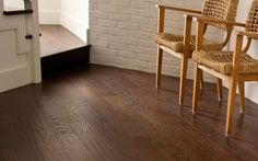 A beautiful hardwood floor offers a warm welcome to friends and family as soon as they enter your home.  This hand-scraped floor in 5-inch width planks can be installed in a traditional-style foyer or in a contemporary foyer where wood, stone and other materials are mixed to create an urban look.
