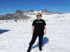 Joyce sent us the only summer photo with snow on the ground! 3,435 miles from the Town of Palm Beach United Way office at Denver Glacier, AK