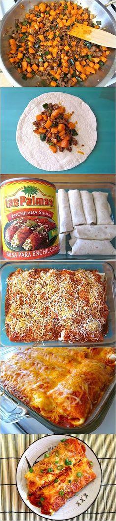 chorizo and sweet potato enchiladas (I would use regular pork sausage or another sausage,  I am not an chorizo fan)