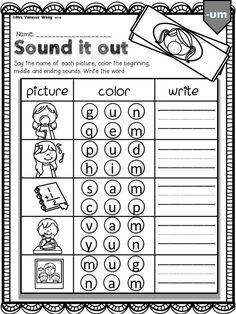 1st Grade Worksheets, Phonics Worksheets, Phonics Activities, Kindergarten Worksheets, Worksheets For Kids, Printable Worksheets, Kindergarten Vocabulary, Calendar Worksheets, Comprehension Worksheets