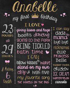 Glitter 1st Bday Poster - Custom 1st Birthday Chalkboard Sign - Gold Birthday Blackboard - Glitter Pink Birthday Prop - Princess Birthday by ChalkType on Etsy https://www.etsy.com/listing/221763208/glitter-1st-bday-poster-custom-1st