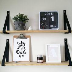 black leather strap shelves