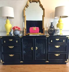 Chinoiserie Hollywood regency style buffet or dresser lacquered in deep navy blue