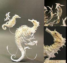 Unbelievable!--- sea horse with birds- original handmade OOAK clay art sculpture