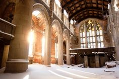 A snow filled abandoned church in Gary, Indiana
