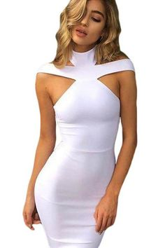 03d9a71d587 White Triangle Cutout Turtleneck Bodycon Bandage Dress  bandagedress   bodycon  White Bandage Dresses Online