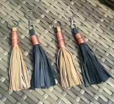 Leather and copper tassle keyring leather keychain bag charm