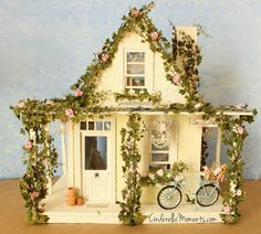 Cottage and shabby chic styles mingle to create a truly romantic look! Miniature Rooms, Miniature Houses, Gnome House, Smurf House, Fairy Houses, Doll Houses, Cinderella Moments, Dollhouse Miniatures, Dollhouse Design