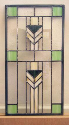 Prairie School Style 9 x 18 Insert Stained Glass Window Panel - Modern Stained Glass, Stained Glass Door, Stained Glass Designs, Stained Glass Panels, Stained Glass Projects, Stained Glass Patterns, Leaded Glass, Sliding Glass Door, Mosaic Glass