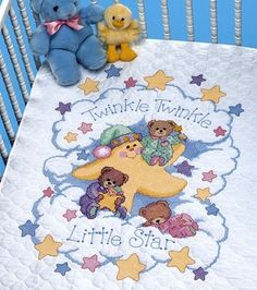 Shop for 'Twinkle Twinkle' Stamped Cross Stitch Quilt Kit. Get free delivery On EVERYTHING* Overstock - Your Online Sewing & Needlework Shop! Cross Stitch Kits, Cross Stitch Designs, Cross Stitch Patterns, Quilt Baby, Cross Stitch Baby Blanket, Dimensions Cross Stitch, Quilt Kits, Little Star, Ideas