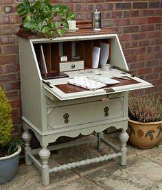 Beautiful Vintage Shabby Chic Painted Oak Desk Bureau