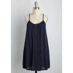 Boho Short Length Sleeveless Shift Bruges Ego Dress ($55) ❤ liked on Polyvore featuring dresses, blue, apparel, fashion dress, shift dress, navy blue sundress, sleeveless shift dress, bohemian dresses and short slip