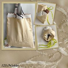 Upcycling Beutel aus Omas Kissenbezug und Gardinenstoffrest Shopping Bags, Beige, Tote Bag, Old Clothes, Fabric Remnants, Sheer Curtains, Shopping, Brown, Repurpose