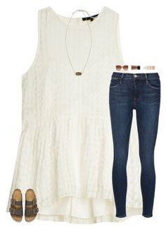 """""""hello"""" by southern-belle606 ❤ liked on Polyvore featuring TIBI, Frame Denim, STELLA McCARTNEY, NARS Cosmetics, Maybelline, Birkenstock and Kendra Scott"""