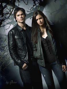 "Damon Salvatore (Ian Somerhalder) and Elena Gilbert (Nina Dobrev) from ""The Vampire Diaries"""