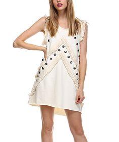 Listicle Ivory Fringe Hand-Beaded Sleeveless Dress | zulily